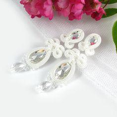 White Soutache BRIDAL EARRINGS WEDDING Swarovski by byPiLLowDesign