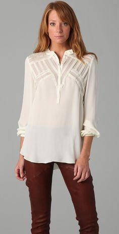Haute Hippie Pintucked Blouse thestylecure.com