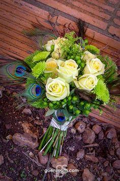 Peacock Theme Bouquet Weddingsonlinein