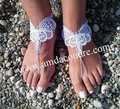 Création Bijoux de pieds en dentelle, broderie, guipure, bijoux de la mariée pour voyage de noces,création