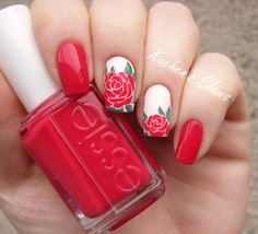 """red rose nail art with Essie """"Double Breasted Jacket"""""""