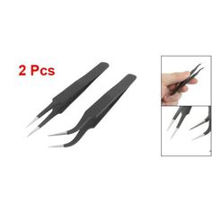 2 Anti-magnetic Antistatic Curved Straight Tips Tweezer