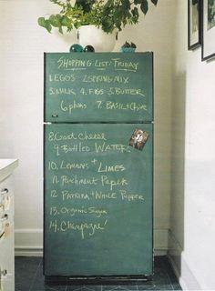To: Make a Chalkboard Fridge Like Danny Seo's Kitchen Inspirations, Chalkboard Paint Fridge, Diy Chalkboard, Painted Boards, Chalkboard Paint, Home Diy, Kitchen Appliances, Chalkboard Fridge, Kitchen Paint