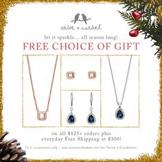 Select a FREE gift on all $125+ orders (with Free Shipping!) – all season long!  Get your Holiday shopping list checked off and get some FREE jewelry to gift or keep for yourself! Shop my boutique: MaryMostyle.com and take advantage of this amazing deal!