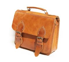 Simple Brown Leather Cross Body Messenger by CoruscateLeatherBag, $135.00