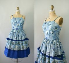 Vintage 1950s Sundress  50s Sea Scape Novelty by Sweetbeefinds, $128.00
