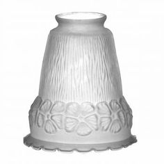 4 Lamp Shade Frosted Glass Flowers Bell 5 1/2