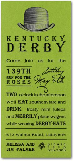 Derby Hat Shimmery Green Party Invitations, Kentucky Derby Party Invitations