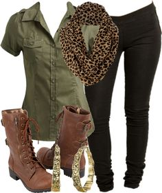 black skinny pants, olive green button down, brown boots, leopard infinity scarf