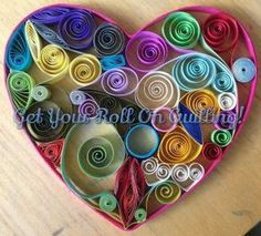 Medium Multi Technique Quilled Heart by Kristen Brunton of Get Your Roll On Quilling.