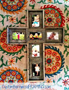 "Custom Barnwood Frames - NATURAL OLD RUGGED CROSS  (http://www.custombarnwoodframing.com/products/natural-old-rugged-cross.html)    25 x 32.5"" Custom Barnwood Cross  (6) 4x6 Photos"