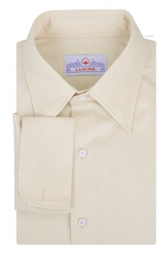 Luxire dress shirt constructed in Ecru Dobby Stripes Twill: http://custom.luxire.com/products/ecru-dobby-stripes-twill  Consists of hidden button down collar and french cuffs.
