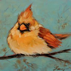 5x5 inch original oil painting of a Cardinal sitting on a branch. Painted on gessobord. Makes a unique and affordable gift. Small easel included! Archival Ampersand Gessobord is 1/8 thick. These small paintings are best displayed on an decorative easel or can be easily and inexpensively framed using a standard photo frame. Artwork is photographed and the image is adjusted to match the original painting as close as possible. Monitors sometimes shift the color slightly. Original photo refer...