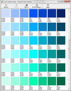 Turquoise Color Palette Rgb
