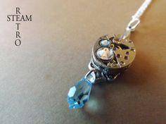 Collar Steampunk Aguamarina / Steamretro, joyería steampunk - Artesanio