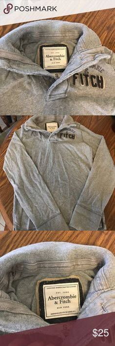 Men's Abercrombie Sweater Gray sweater in good condition. 2 button with collar. Small holes noted in collar Abercrombie & Fitch Sweaters Crewneck