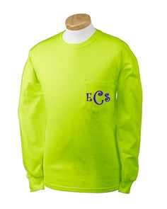 e8e643938818e Monogrammed Long Sleeve Pocket Tee.