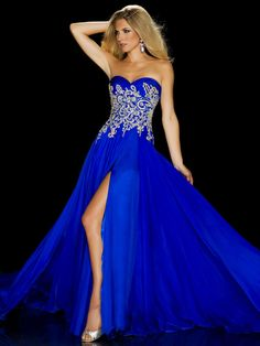 2013 Vintage Long Prom Evening Dresses Pageant Gown Royal Blue Sweetheart Crystals Beaded Chiffon Front Slit 6354P