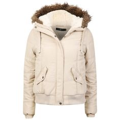 Arctic Story Women's Fur Trim Coat (1.195 RUB) ❤ liked on Polyvore featuring outerwear, coats, jackets, coats & jackets, beige, biker coat, fur trimmed coat, pink coat, quilted coat and pink bomber jacket