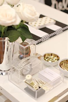 office supplies in lucite & gold