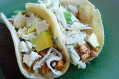 Taco Bar?  Yes please!  Chipotle Chicken Tacos with Lime Cream and Cabbage.  Too good to pass up.
