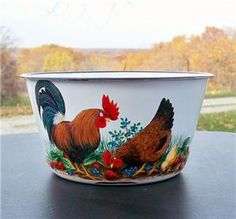 rooster+hand+painted+enamel+ware | ENAMELWARE White FRUIT BOWL HP Rooster Hen Chick Strawberries Hand ...