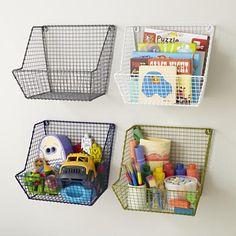 Kids Storage: Wire Wall Storage Bins in Shelf & Wall Storage