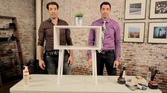 This midcentury modern nightstand is easy to make and very cool, plus there's a tutorial from The Property Brothers - http://gma.yahoo.com/video/property-brothers-show-customize-night-002926308.html