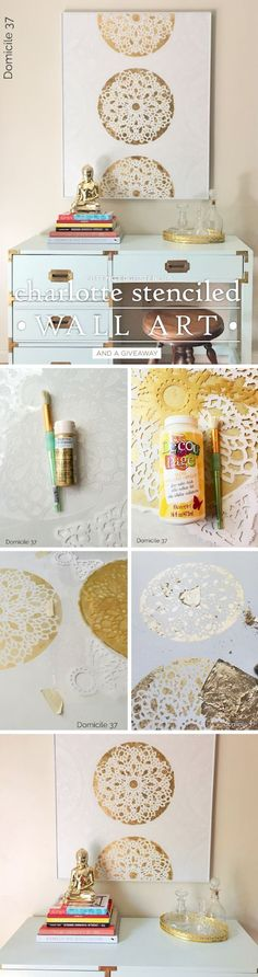 How to stencil DIY gold stenciled piece of wall art using a lace-inspired stencil, the Charlotte Allover. http://www.cuttingedgestencils.com/charlotte-allover-stencil-pattern.html: