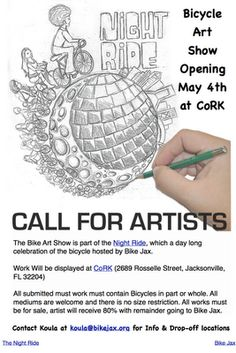 Come join us for The Bike Art Show at CoRK for the Kick off event of Bike Month in Jacksonville. If you are an artist and would like to participate, drop us an email.