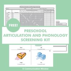 This FREE Preschool and Articulation Phonology Screening Kit is designed for speech pathologists working with 2-5 year old students. It is a quick tool for getting qualitative information about preschool children's articulation and phonology skills. Sounds screened are /p, b, m, n, d, h, g, k, t, f, w, s, z, ch, and sh/.