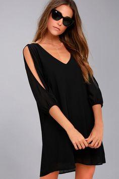 #Lulus - #Lulus LULUS Exclusive Shifting Dears Black Long Sleeve Dress - AdoreWe.com