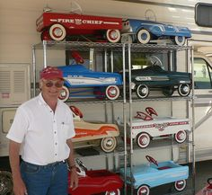 Gordon Brigley and his pedal car collection. He had a display of true vintage pedal cars and reproductions on display. These ones here are true vintage examples that have been restored.Three Hills Street Freaks Show Antique Toys, Vintage Toys, Man Cave Sofa, Pedal Cars, Pedal Tractor, Wooden Toy Cars, Truck Tailgate, Man Cave Home Bar, Car Mods