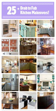 25 top drab 2 fab kitchen makeovers on Hometalk! ---. http://www.hometalk.com/b/590726/kitchen-makeovers  Curated by @At The Picket Fence  Featuring: @Jessica Kielman         {Mom 4 Real} @Recaptured Charm Lisa @Shannon Fox {fox hollow cottage}@Julie @ redheadcandecorate.com @The Inspired Room and more!