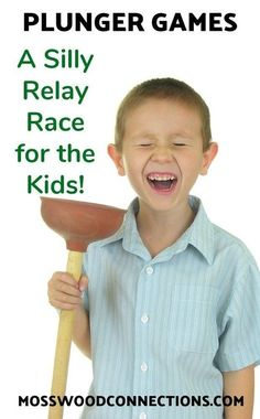 A Silly Relay Race for the Kids - Plunger Games; A Silly Relay Race for the Kids Plunger Games; A Silly Relay Race fo - Relay Race Games, Kids Relay Races, Relay Games For Kids, Olympic Games For Kids, Outdoor Games For Kids, Games For Toddlers, Relay Race Ideas, Outdoor Play, Indoor Group Games