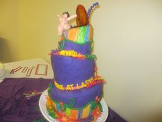 Free at Last Retirement Topsy Turvy Cake with gum paste  figure & isolate sunset & ocean