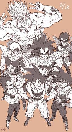 Goku, Vegeta, Bardock, Nappa, Raditz, Tarble y  Broly ( como q a Broly le pico algo para estar haciendo signos de paz )