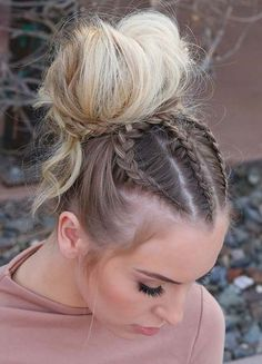 Perfect Braids with Top Bun Hairstyles to Show Off in 2020 Braided Hairstyles For Wedding, Bun Hairstyles, Beauty Makeup Tips, Beauty Hacks, Updo Styles, Long Hair Styles, Long Length Hair, Front Braids, Bun Updo