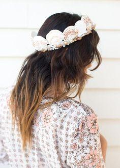 A seashell crown for a beach bride. #etsyweddings