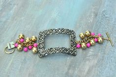 Internal youth    1930's French steel cut shoe buckle paired with vintage gold and pink beads