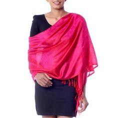 Varanasi silk shawl, 'Banaras Rose' - Handwoven Dark Pink Varanasi Silk Shawl