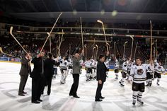 04.21.13 - Hershey Bears players salute the fans at center ice on Fan Appreciation Night.  Bears defeated the Monarchs 4-2 and clinched the #8 seed in the AHL Calder Cup Playoffs.  Photo courtesy of JustSports Photography