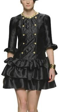 Black Faux-Leather Double-Breasted Tiered Hem Dress