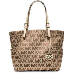 Michael Kors Jet Set MK Logo Signature Tote Handbag ($180) ❤ liked on Polyvore featuring bags, handbags, tote bags, beige, tote handbags, handbags purses, brown purse, michael kors handbags and brown tote purse