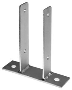 U Post support brackets on plate for wooden fences, pergola and light wooden constructions, deliveries worldwide, www.intergard.eu