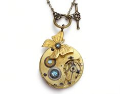 Steampunk Necklace butterfly gold guilloche pocket watch antique 1880 ruby jewel aquamarine blue Swarovski crystal stones pendant