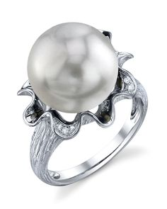 Exquisite Pearl - AAA Quality South Sea Pearl & Diamond Robin Ring - The Pearl Source