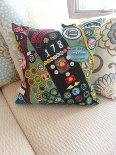 Girl Scout Memory Pillow - Custom Order.  Contact Kaydees Memory Quilts to order!