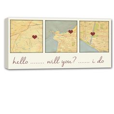 "Personalized Holiday Gift Idea. Three map locations, Where you Met, Got Engaged, Said I do! With just the address of YOUR ""special"" locations, we will create a one of a kind Custom Map Canvas for you. Using any wording over your custom canvas map art and a HEART to mark your location. Met, Engaged, Wed. Hello, Will You?, I do! … or any wording of your choice."