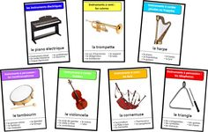 Set of the seven families of musical instruments Instrument Percussion, Ep Album, Montessori Activities, Bingo, Musical Instruments, Musicals, Teaching, This Or That Questions, Education